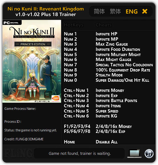 Ni No Kuni 2: Revenant Kingdom - Trainer +18 v1.0 - 1.02 {FLiNG}