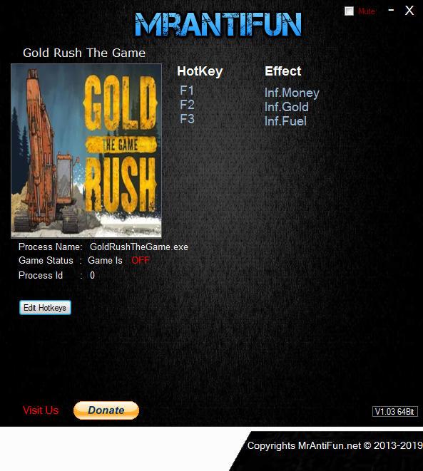 Gold Rush: The Game - Trainer +3 v1.4.3.9250 {MrAntiFun}