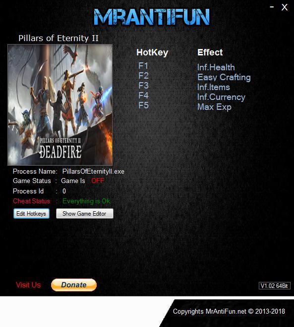 Pillars of Eternity 2: Deadfire - Trainer +5 v3.1.0.0016 {MrAntiFun}