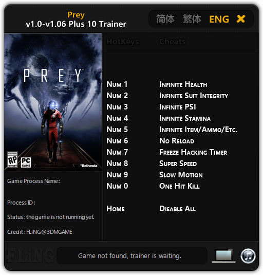 Prey 2017: Trainer +10 v1.00 - 1.06 {FLiNG}