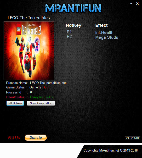 LEGO The Incredibles: Trainer +2 v1.0 {MrAntiFun}