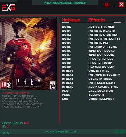 Prey (2017): Trainer +16 v1.06 Mooncrash {FutureX}