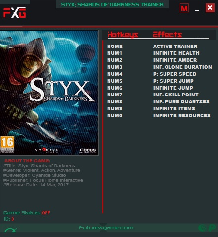 Styx: Shards of Darkness - Trainer +10 v1.05 {FutureX}