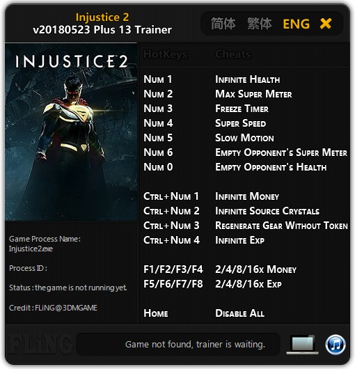 Injustice 2: Trainer +13 [UPD: 23 05 2018] {FLiNG} - Download