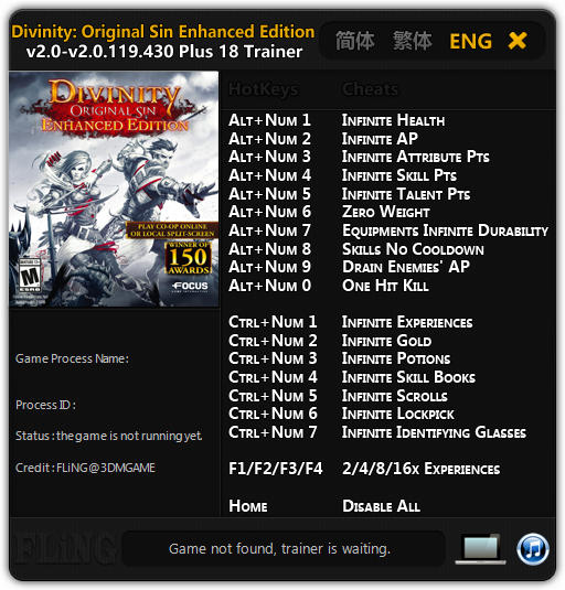 Divinity: Original Sin - Enhanced Edition: Trainer (+18) [2.0 - 2.0.119.430] {FLiNG}