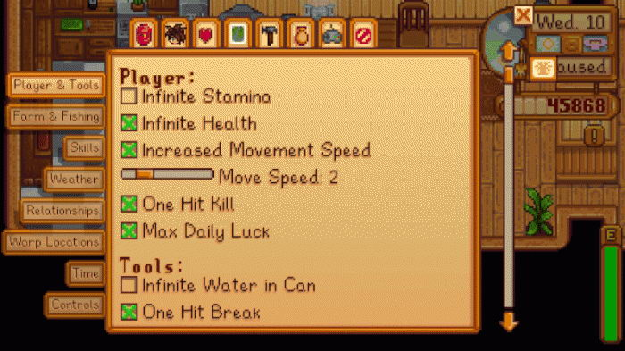 Stardew Valley: Cheat-Mode (SMAPI 0.40.0 + In-Game Cheat Menu 1.12)