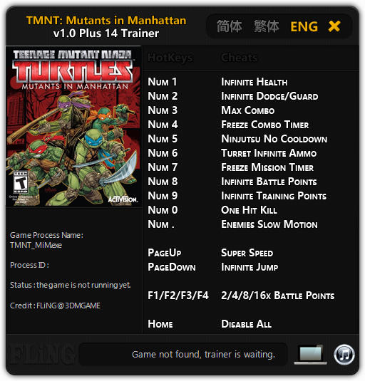 Teenage Mutant Ninja Turtles: Mutants in Manhattan - Trainer +14 v1.0 {FLiNG}