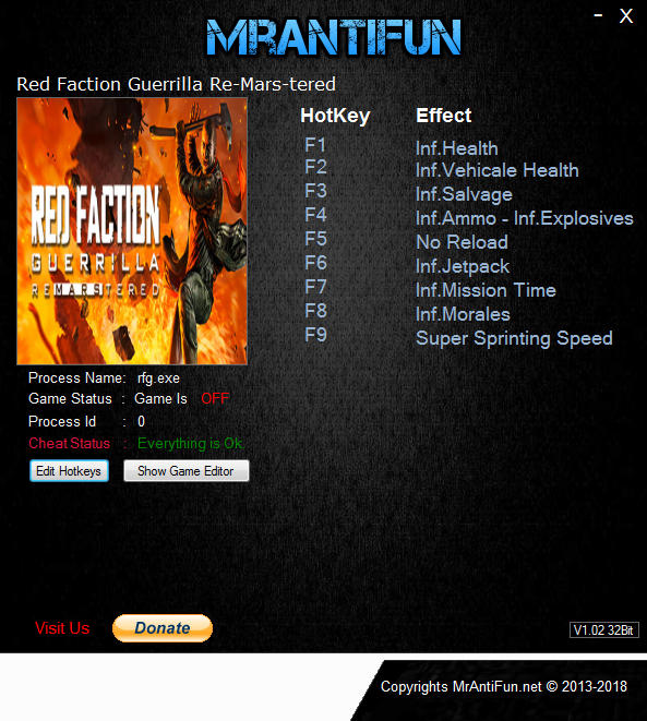 Red Faction: Guerrilla Re-Mars-tered - Trainer +10 v4851{MrAntiFun}
