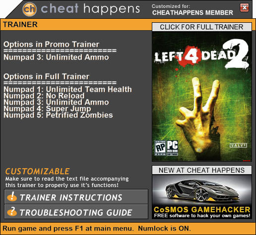 Left 4 Dead 2: Trainer +5 (Patch 07 22 2018) {CheatHappens