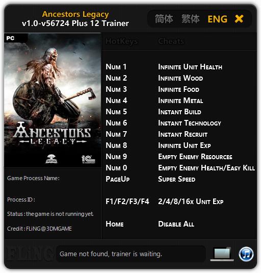 Ancestors Legacy: Trainer +12 v1.0 - 50164 {FLiNG}