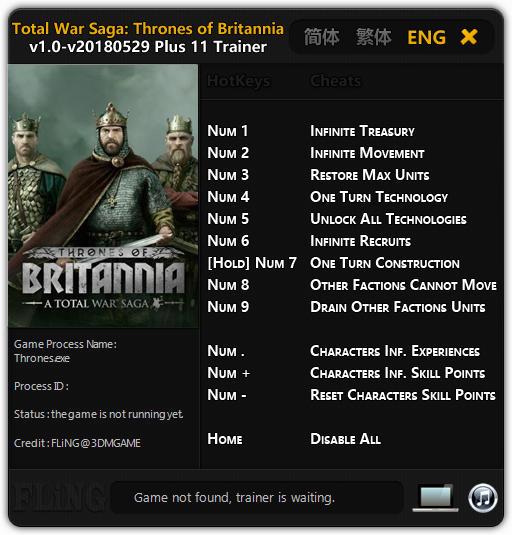 Total War Saga: Thrones of Britannia - Trainer +11 v1.0 Update 2018.05.29 {FLiNG}