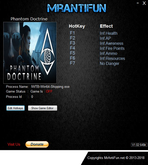 Phantom Doctrine: Trainer +7 v1.00 {MrAntiFun}