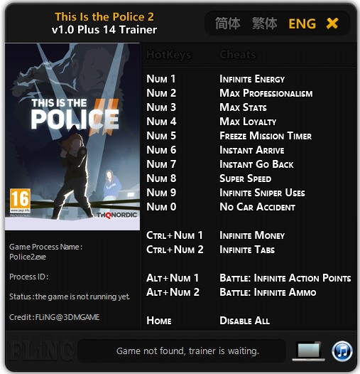 This Is the Police 2: Trainer +14 v1.0 {FLiNG}