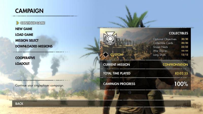 Sniper Elite 3: Save Game (The game done 100% + DLC, realistic difficulty)