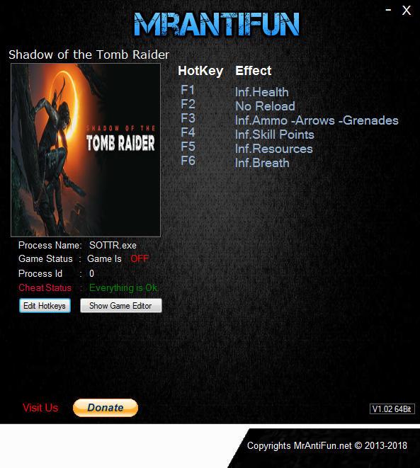 Shadow of the Tomb Raider: Trainer +8 v1.0 Build 237.6 {MrAntiFun}