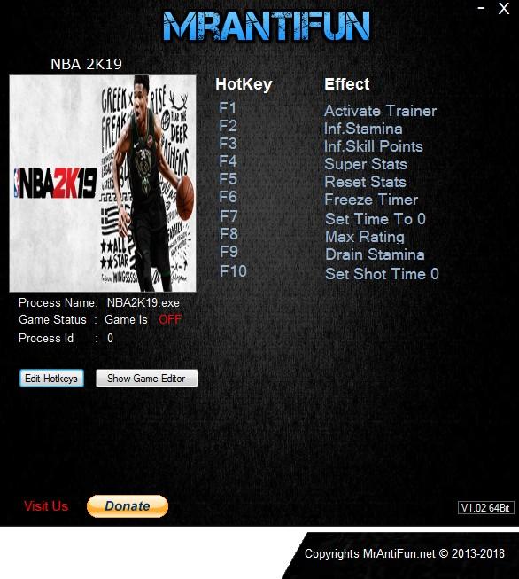 NBA 2K19: Trainer +8 v1 0 {MrAntiFun} - Download - GTrainers