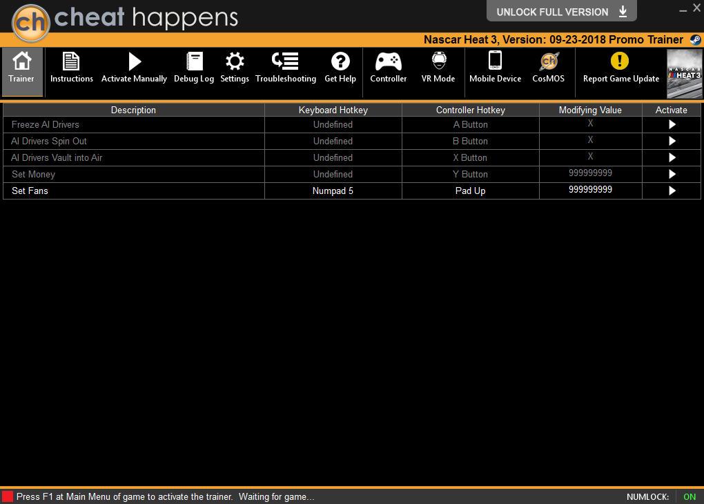 NASCAR Heat 3: Trainer +5 v1.0 {CheatHappens.com}