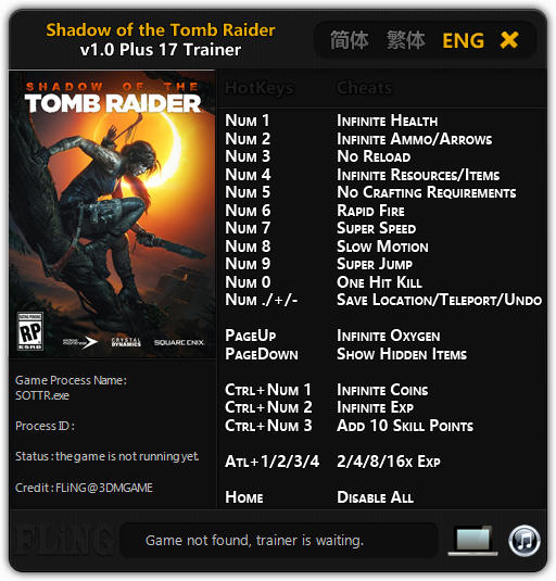 Shadow of the Tomb Raider: Trainer +17 v1 0 {FLiNG} - Download