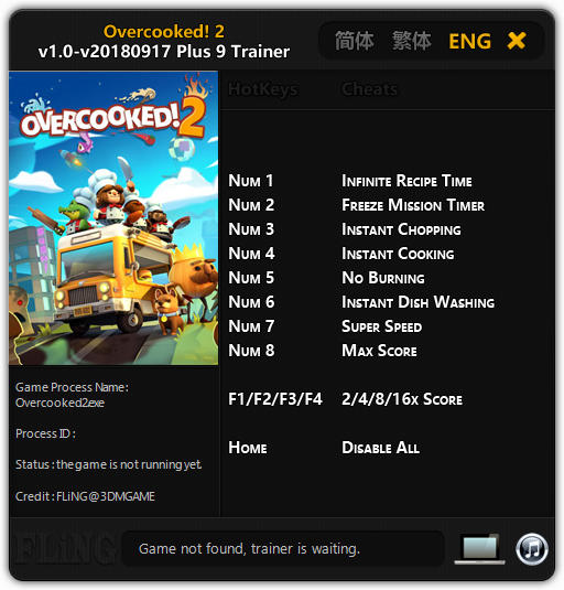 Overcooked 2: Trainer +9 v1.0-v20180917 {FLiNG}
