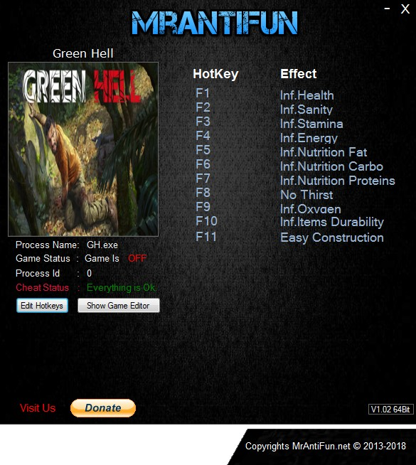 Green Hell: Trainer +11 v0.1.2 {MrAntiFun}