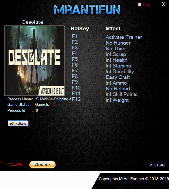 Desolate: Trainer +11 v0.8.49 {MrAntiFun}