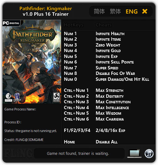 Pathfinder: Kingmaker - Trainer +16 v1.0 {FLiNG}