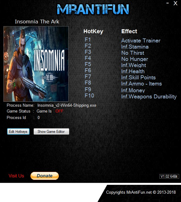 INSOMNIA: The Ark - Trainer +9 v09.10.2018 {MrAntiFun}