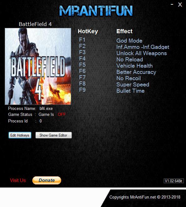 Battlefield 4: Trainer +11 v29.09.2018 {MrAntiFun}