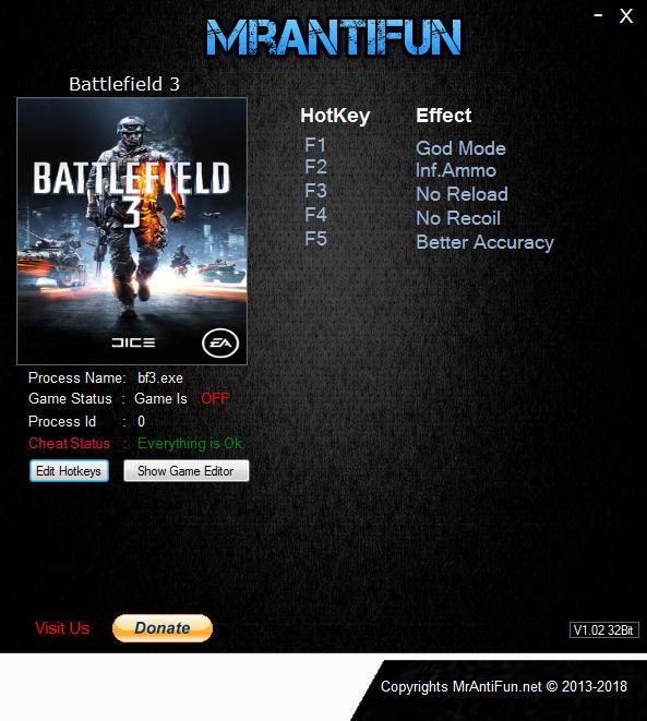 Battlefield 3: Trainer +5 v29.09.2018 {MrAntiFun}