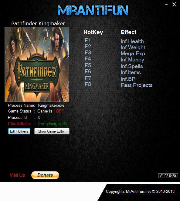 Pathfinder: Kingmaker - Trainer +8 v1.0.6 {MrAntiFun}