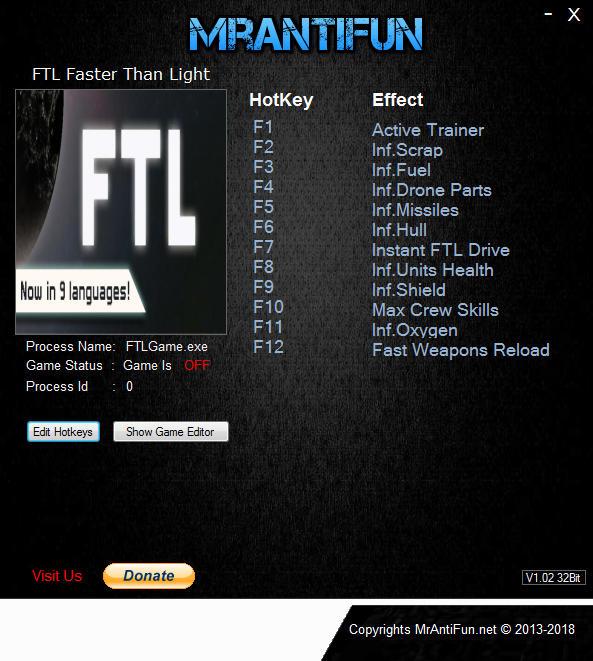 FTL: Faster Than Light - Trainer +11 v1.6.8 {MrAntiFun}