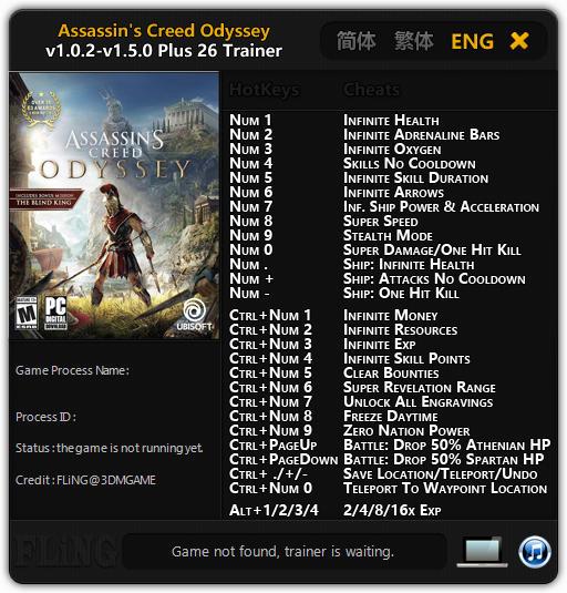 Assassin's Creed: Odyssey - Trainer +21 v1.0.2 {FLiNG}