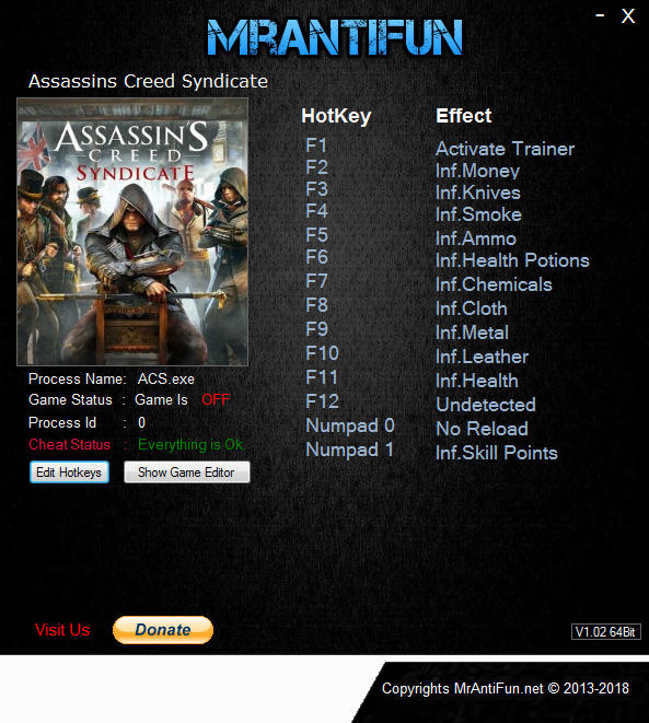 Assassin's Creed: Syndicate - Trainer +13 v1.51 {MrAntiFun}