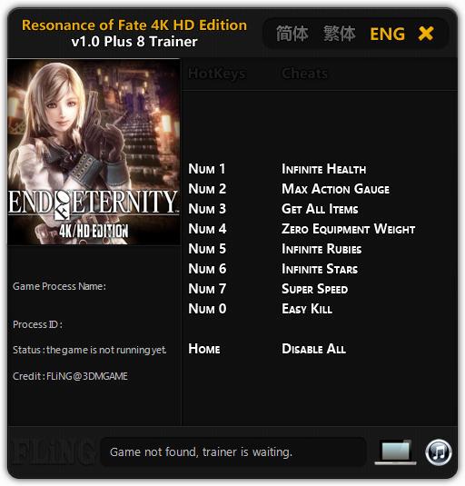 Resonance of Fate 4K: HD EDITION - Trainer +8 v1.0 {FLiNG}