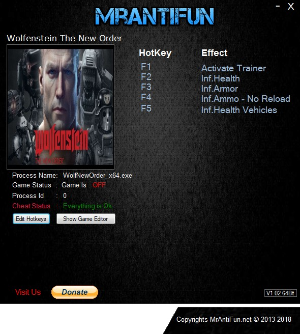 Wolfenstein: The New Order - Trainer +6 v1.0.0.2 {MrAntiFun}