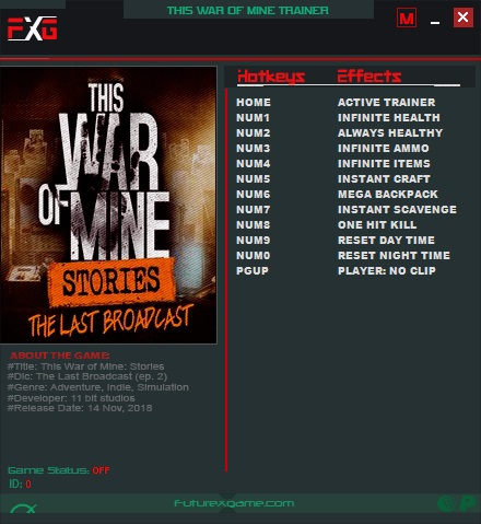 This War of Mine: Stories - The Last Broadcast: Trainer +11 v20181014 {FutureX}