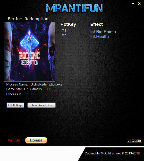 Bio Inc. Redemption: Trainer +2 v1.10 {MrAntiFun}