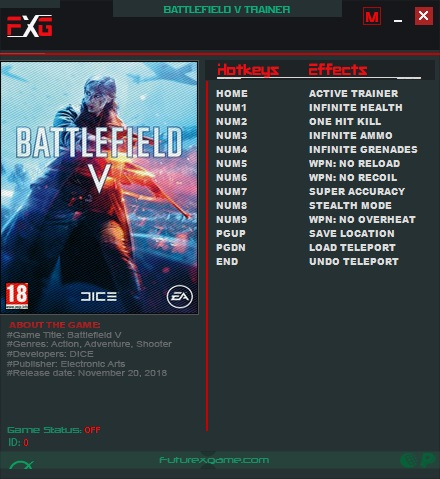 Battlefield 5: Trainer +10 v1.05 {FutureX}
