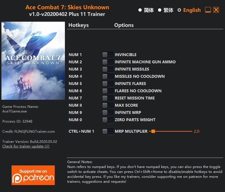 Ace Combat 7: Skies Unknown - Trainer +11 v1 0 {FLiNG