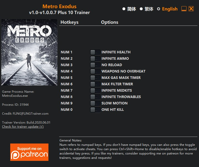 Metro Exodus: Trainer +10 v1 0 {FLiNG} - Download - GTrainers