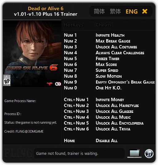 Dead or Alive 6: Trainer +16 v1 10 {FLiNG} - Download