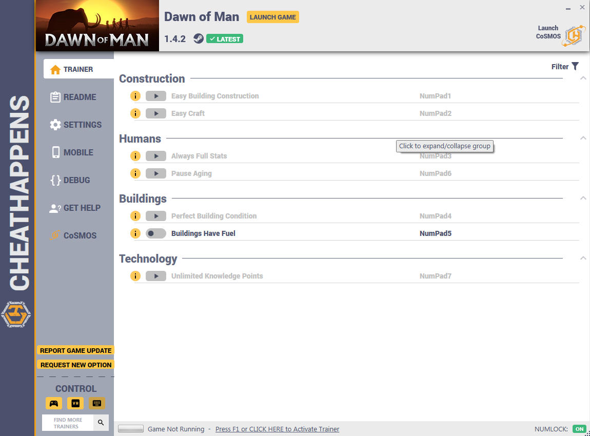 Dawn of Man: Trainer +7 v1.2.1b {CheatHappens.com}
