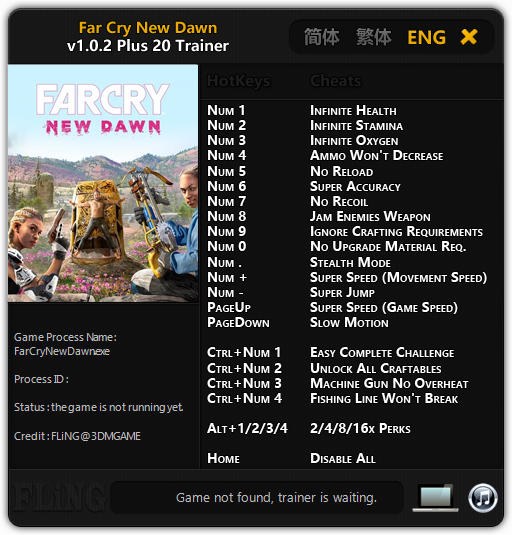 Far Cry: New Dawn - Trainer +20 v1 0 2 {FLiNG} - Download