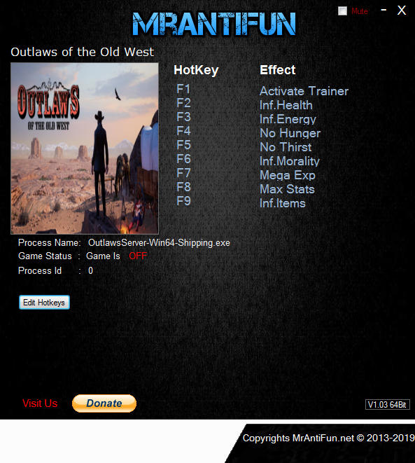 Outlaws of the Old West: Trainer +8 v1.0.5 {MrAntiFun}
