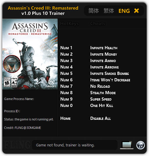 Assassin's Creed 3 Remastered: Trainer +10 v1.0 {FLiNG}