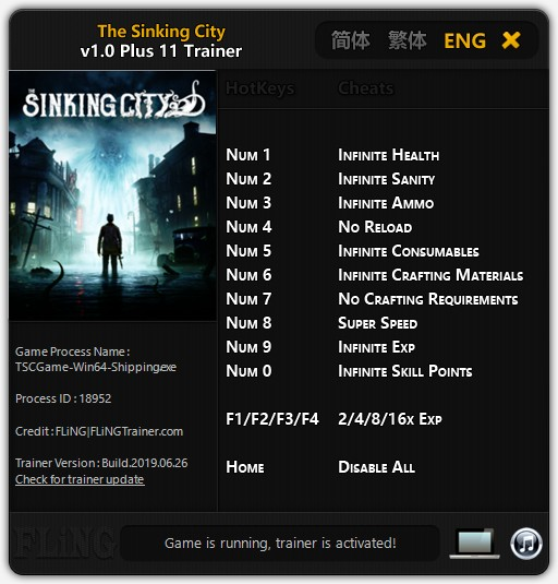 The Sinking City: Trainer +11 v1 0 {FLiNG} - Download - GTrainers