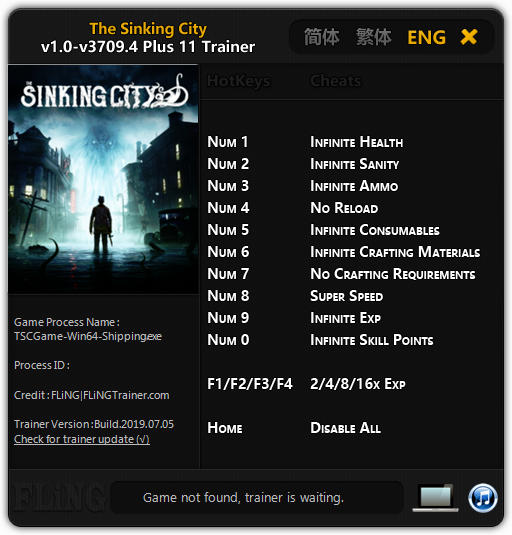 The Sinking City: Trainer +11 v3709.4 {FLiNG}