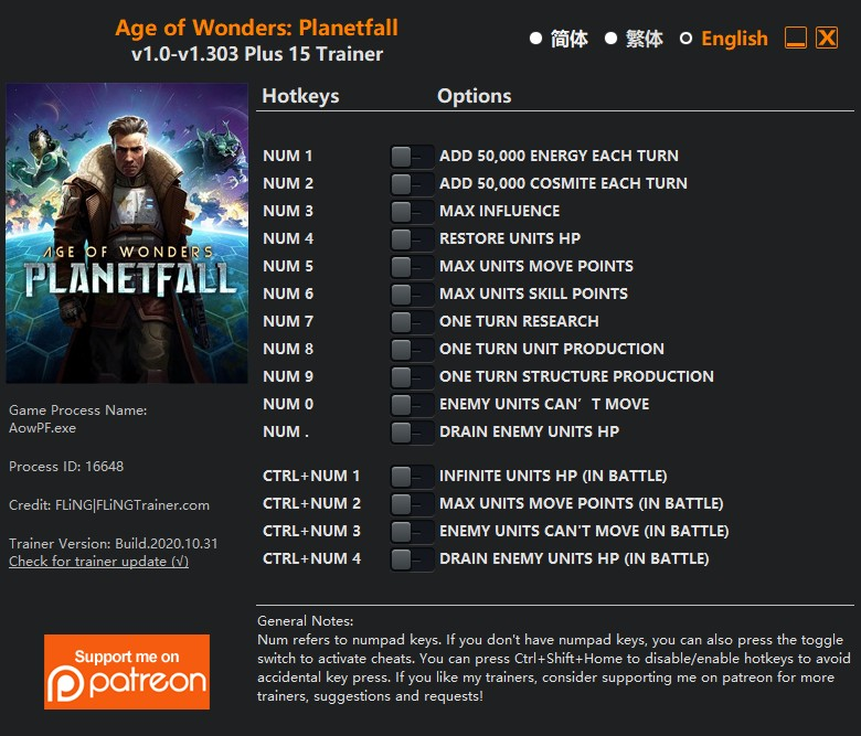 Age of Wonders: Planetfall - Trainer +15 v1.0-v1.003 {FLiNG}