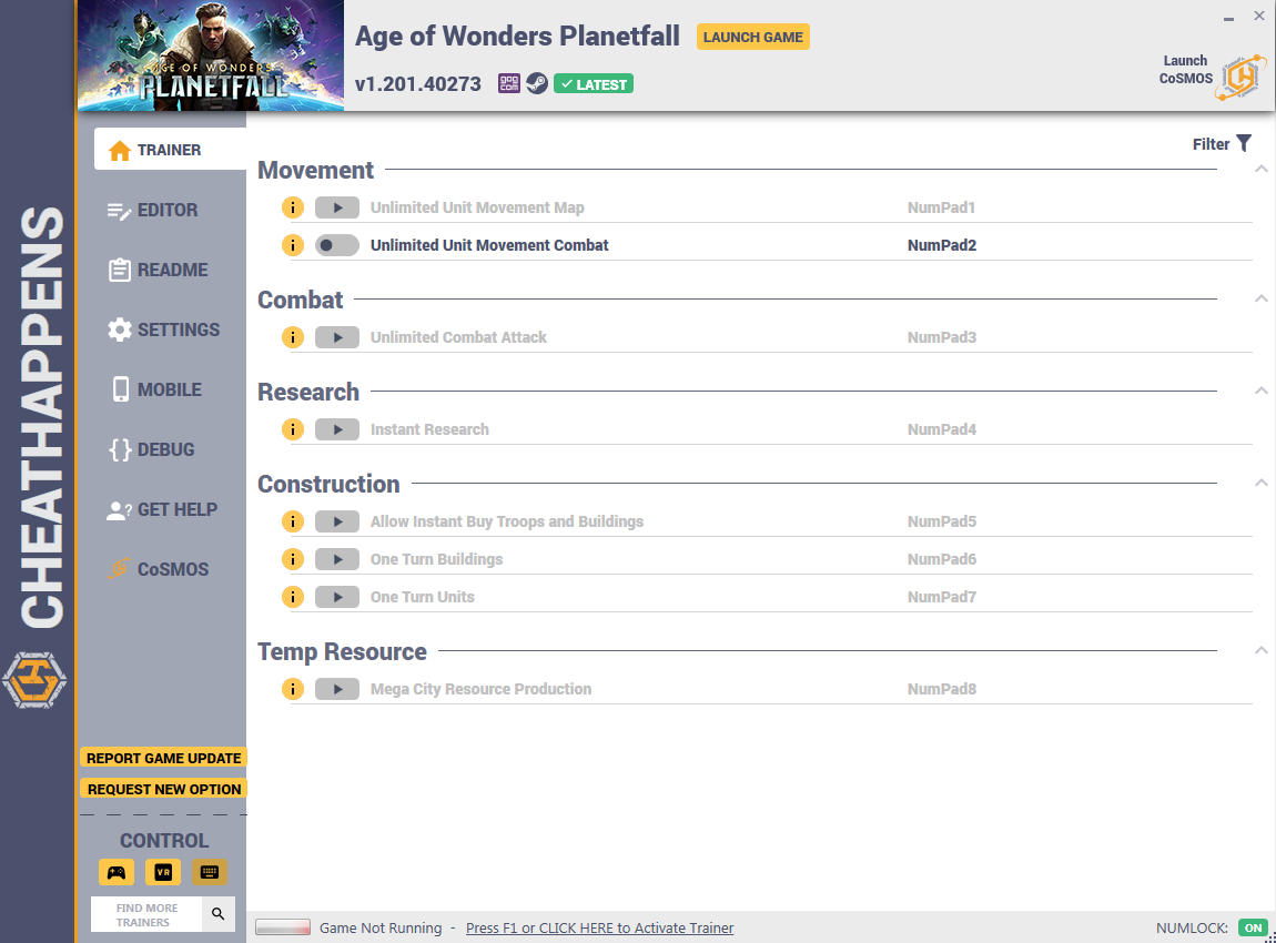 Age of Wonders: Planetfall - Trainer +17 v1.201.40149 {CheatHappens.com}