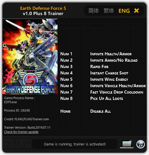 Earth Defense Force 5: Trainer +8 v1.0 {FLiNG}